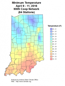 Figure 1. Minimum temperatures in Indiana from April 9 to 11, 2016