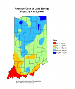 Figure 1. Average date of last spring frost 36 F or lower