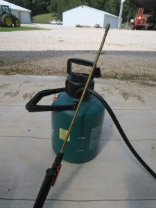 A typical garden sprayer with an adjustable nozzle and hand pump is not suitable for applying most commercial pesticides.