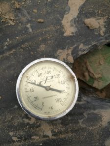 Figure 3. Use a soil thermometer to check soil temperatures.
