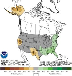 Figure 2. The 8-14-day climate outlook showing probabilities favoring near-normal precipitation amounts for April 29 through May 5, 2021. Source: NOAA Climate Prediction Center