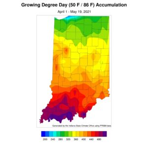 Figure 2. Modified growing degree day accumulation from April 1 to May 19, 2021.