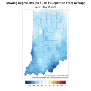 Figure 3. Modified growing degree-day accumulation departures for April 1 through May 19, 2021 compared to the 1991-2020 climatological period.