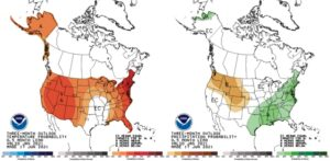 Figure 3. Climate outlooks for the July-August-September period for temperature (left map) and precipitation (right map). These are produced by the national Climate Prediction Center and illustrate confidence of favoring above- or below-normal conditions.