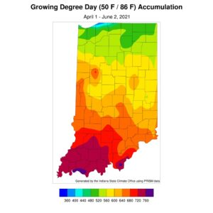 Figure 3. Modified growing degree day accumulation from April 1 to June 2, 2021.