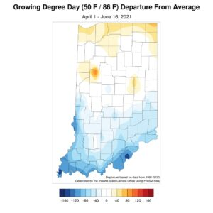 Figure 5. Modified growing degree-day departures as of 17 June 2021 compared to the 1991-2020 climatological average.