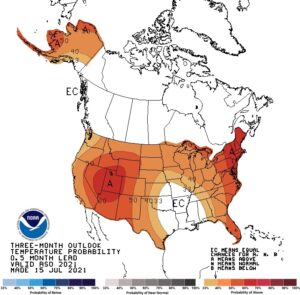 Figure 2. National three-month climate outlook of temperature relative to normal for August through September (source: Climate Prediction Center).