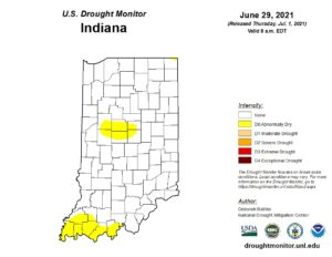 Figure 2. US Drought Monitor status for Indiana as of data through June 29, 2021.