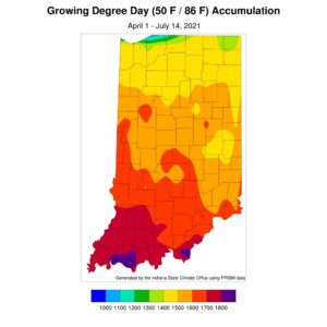 Figure 3. Modified growing degree day accumulations from April 1 to July 14, 2021.
