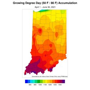 Figure 3. Modified growing degree day accumulations from April 1 to June 30, 2021.
