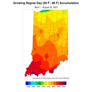 Figure 4. Accumulated modified growing degree days for April 1 through August 25, 2021.