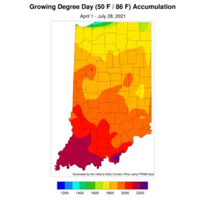 Figure 1. Modified growing degree day accumulations from April 1 to July 28, 2021.