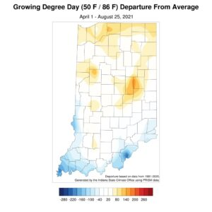 Figure 5. Accumulated modified growing degree day departure from the 1991-2020 climatological average for April 1 through August 25, 2021.