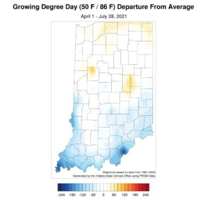 Figure 2. Modified growing degree day accumulation departures from the 1991-2020 climatology from April 1 to July 21, 2021.