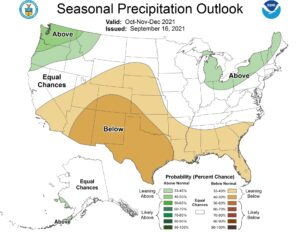 Three-month climate outlook for precipitation representing October through December.