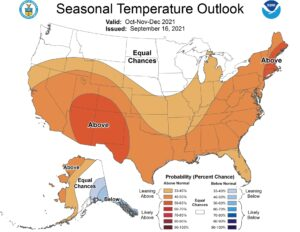 Three-month climate outlook for temperature representing October through December.