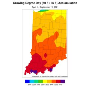 Modified growing degree day accumulations from April 1 to September 15, 2021.